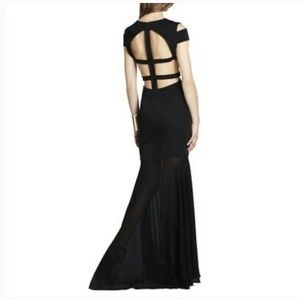 BCBG ava gown with open back and chiffon bottom